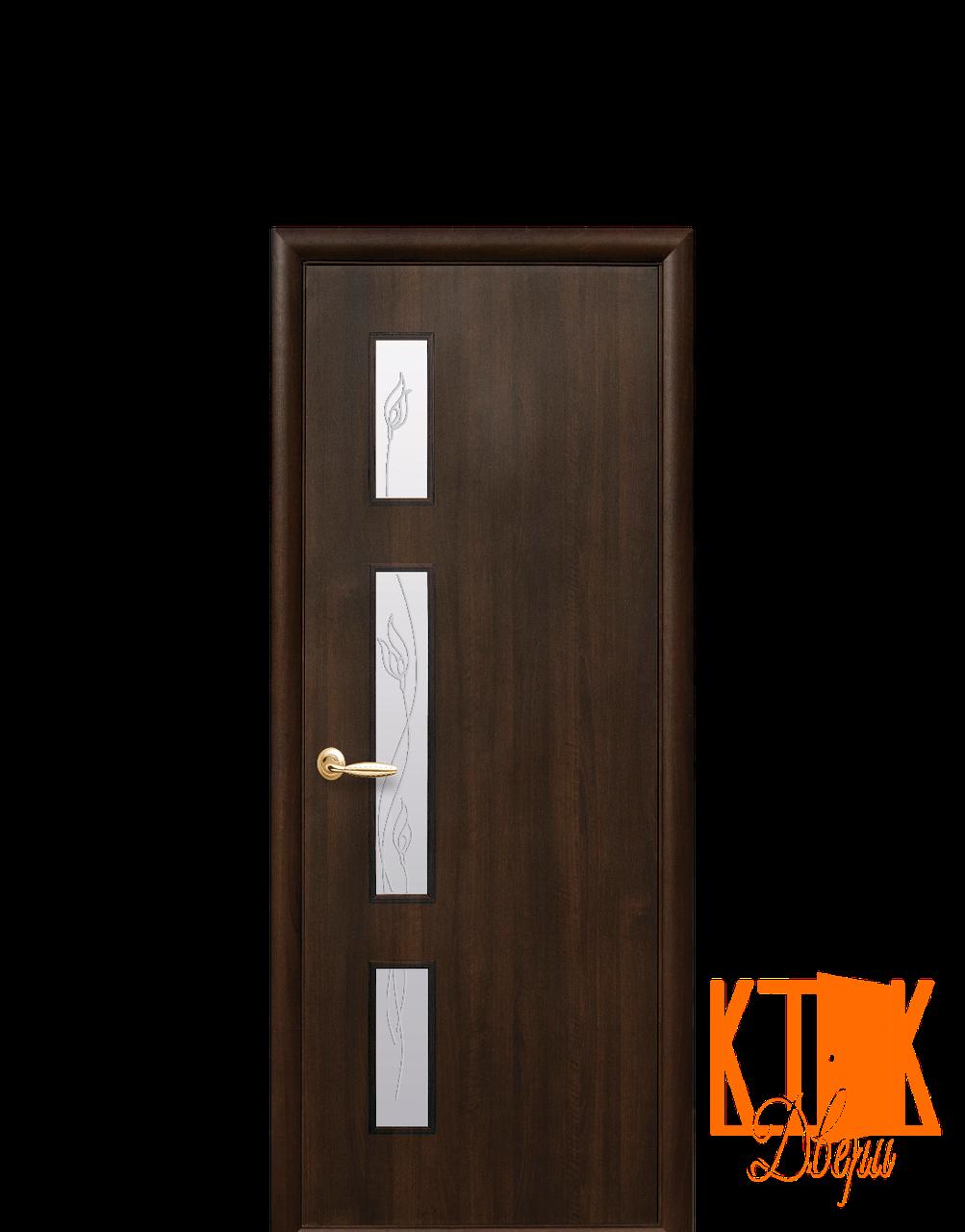 Межкомнатные двери Новый Стиль Герда с рисунком Р3 ПВХ (каштан)
