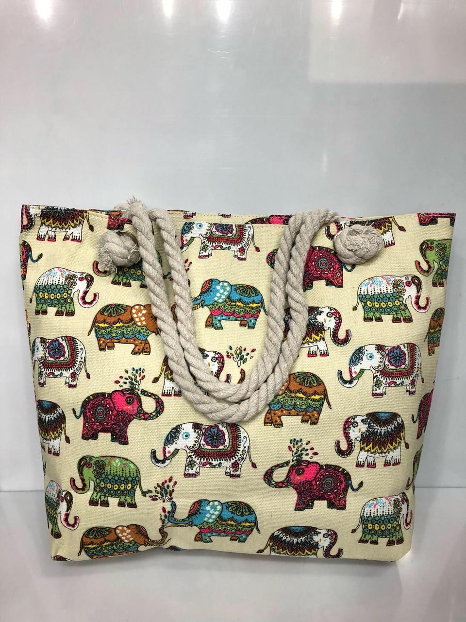 Пляжная сумка на канатах Слоны