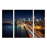 """Модульная картина на холсте """"Набережная и Бруклинский мост"""""""