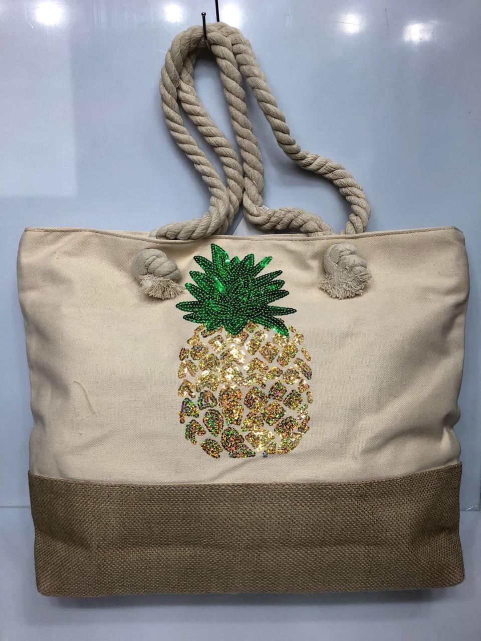 Пляжная сумка на канатах  Ананас