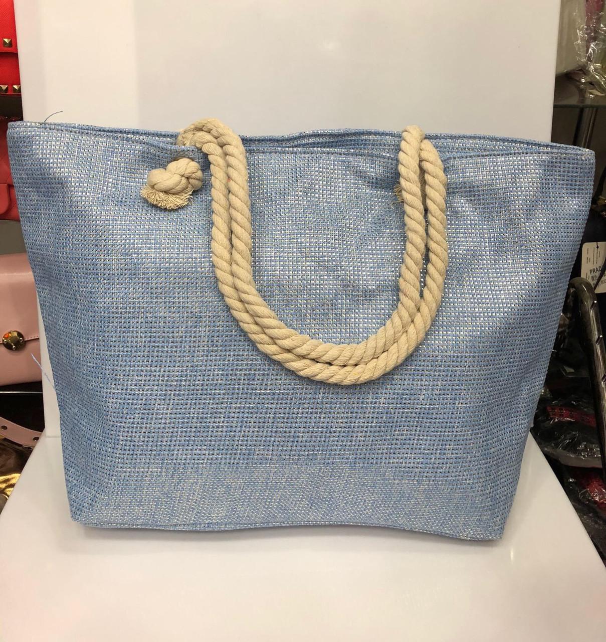 Пляжная сумка на канатах Голубой лен с золотым люрексом