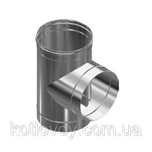 Тройник одностенный из нержавеющей стали 130 мм, Aisi 304, 1.0 мм, 87°