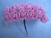 Розы, розочки из латекса с фатином 2-2,5 см Розовые