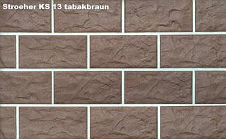 Клинкерная фасадная плитка Stroeher Kerabig-KS 13 tabakbraun, 302x148x12mm