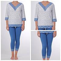 Пижамы для сна женская, василек+индиго