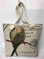 Пляжная сумка на канатах Попугайчики