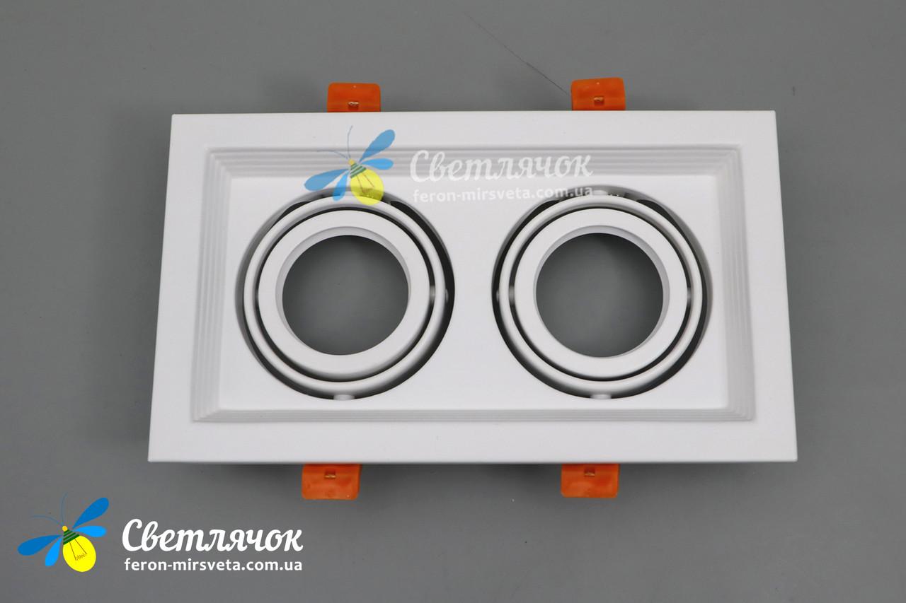 Cветильник карданный поворотный на 2 лампы Feron DLT202 белый под лампы MR16