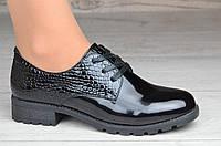 Женские туфли лаковые черные на шнурках ( код 8830) - жіночі туфлі лакові чорні