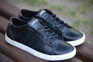 Мужские кожаные кроссовки Adidas Neo черные