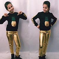 Костюм батник и кожаные лосины для девочек