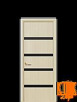 Межкомнатные двери Новый Стиль Нота с черным стеклом ПВХ (ясень)