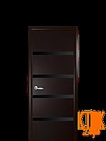 Межкомнатные двери Новый Стиль Нота с черным стеклом (венге) экошпон