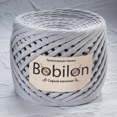 Толстая пряжа Bobilon Maxi (9-11мм). Серый меланж