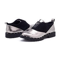 Женские туфли классические без каблука кожаные/замшевые черные/серебристые TOPs0004