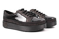 Туфли женские Phany натуральная лаковая кожа, цвет бронза, черный (платформа, стильные, комфорт, Турция) 34