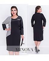 Элегантное платье-футляр с геометрическими вставками с 52 по 58 размер, фото 1