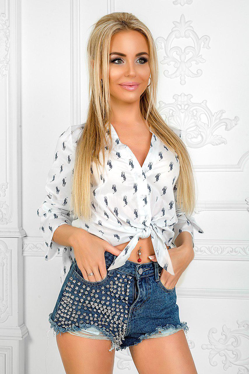 """Стильная женская рубашка на пуговицах """"POLO"""" с завязками (2 цвета)"""