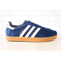 Мужские кроссовки, темно-синего цвета, из натуральной замши, с кожаными вставками 43