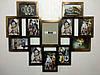 """Деревянная эко мультирамка, коллаж  #812 """"сердце"""" венге/золото, орех, чёрный, белый."""