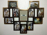 """Деревянная эко мультирамка, коллаж  #812 """"сердце"""" венге/золото, орех, чёрный, белый., фото 1"""