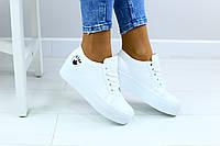 Криперы женские, белые, из натуральной кожи, на шнурках