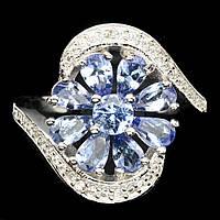 Серебряное кольцо с танзанитами 5 мм* 3 мм