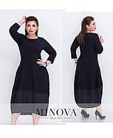 Оригинальное трикотажное платье с разноуровневым подолом с 42 по 52 размер, фото 1