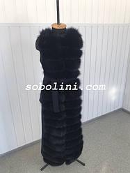 Жилет из пальтовой трикотажной ткани с мехом песца, размеры 42,44,46,48