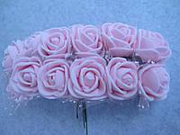 Розы, розочки из латекса с фатином 2-2,5 см Нежно - розовые