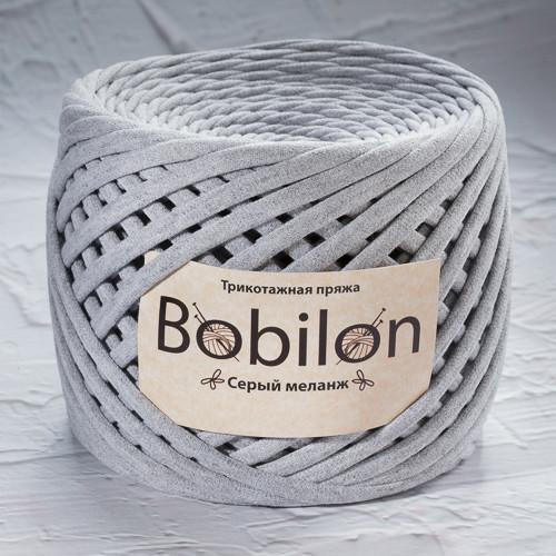 Толстая пряжа Bobilon Mini (5-7мм). Серый меланж