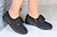 Женские туфли замшевые демисезонные черные на платформе ( код 8838 ) - жіночі туфлі замшеві демисезонні чорні