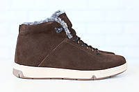 Мужские спортивные зимние ботинки, на меху, замшевые, на шнурках, коричневые 40