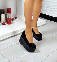 Женские туфли на платформе кожаные /замшевые цвета разные Ko0018