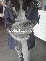 Варежки из меха норвежской чернобурки с натуральной кожей