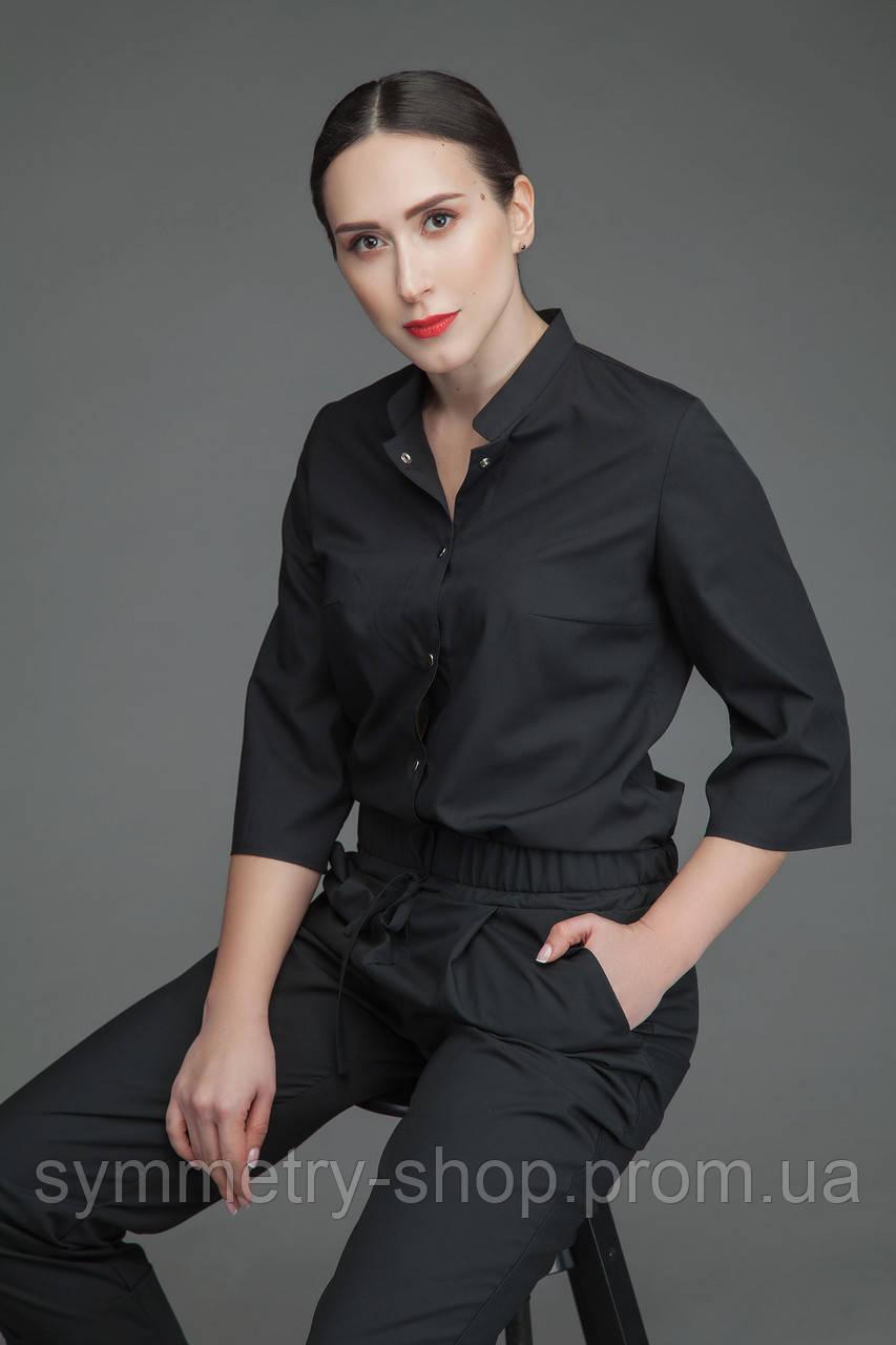 Медицинская блуза Т004, черная
