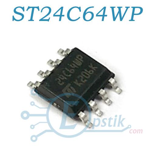 Память ST24C64WP (24C64WP), энергонезависимая EEPROM 64Kb, SOP8