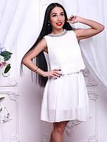 f1a0840ba910937 Красивое белое платье свободного кроя украшено шифоном, цена 520 грн ...