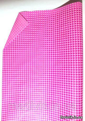 """Бумага подарочная """"Клетка"""" малиновая на розовом."""