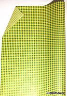 """Бумага подарочная """"Клетка"""" зеленая на желтом."""