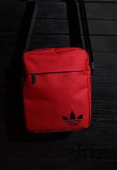 Сумка мессенджер Adidas красного цвета (люкс копия)