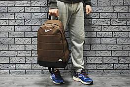 Рюкзак Nike городской мужской с отделением для ноутбука с кожаным дном (коричневый)