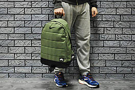 Рюкзак Nike городской мужской с отделением для ноутбука с кожаным дном (темно-зеленый)