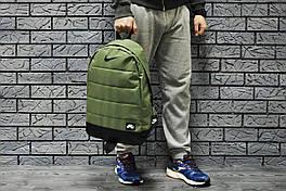 Рюкзак Nike городской мужской с отделением для ноутбука с кожаным дном (темно-зеленый), Реплика ААА