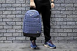 Рюкзак Nike городской мужской с отделением для ноутбука с кожаным дном (светло-синий), Реплика ААА