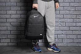 Рюкзак Nike городской мужской с отделением для ноутбука с кожаным дном (черный), Реплика ААА