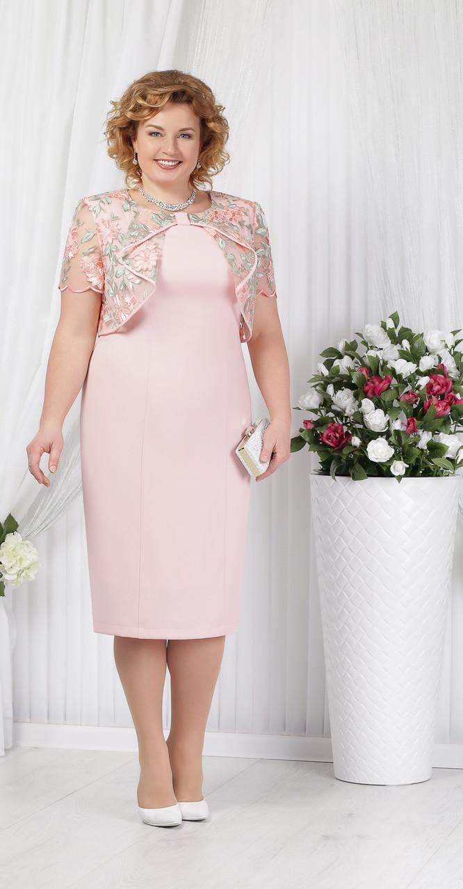 Платье Ninele-5621 белорусский трикотаж, пудра, 56