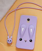 Чехол Funny-Bunny 3D для Meizu M3 / M3s / M3 mini Бампер резиновый сиреневый