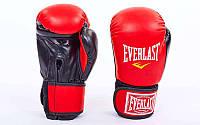 Перчатки боксерские на липучке ELAST UR LV-5376-R (р-р 8-12oz, красный-белый)