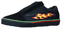 Мужские кеды Vans Old Skool Black Flame Fire