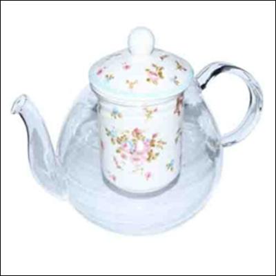 Стеклянный чайник Розочка с фарфоровым ситом и крышечкой, 850 мл
